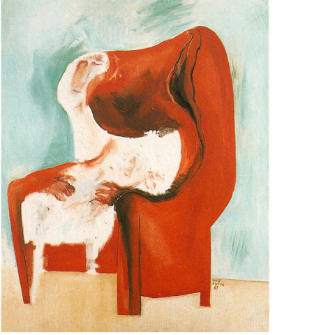 Vrouw in rode fauteuil